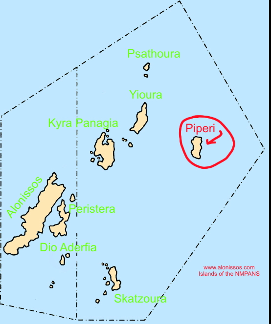 Location of Piperi island