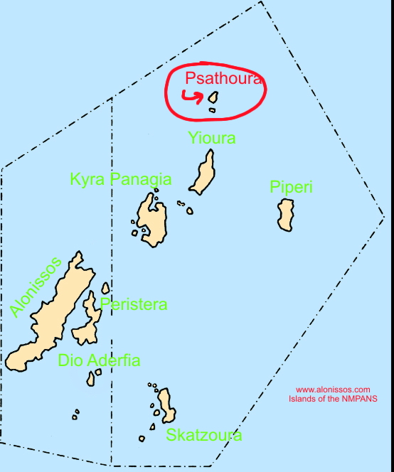 Location of Psathoura island