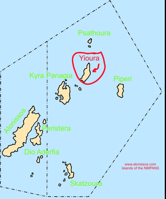 Location of Yioura island